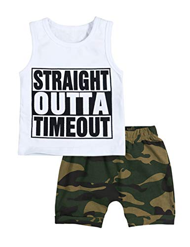 YOUNGER TREE Toddler Baby Boy Clothes Outfit Straight Outta Timeout Vest Camouflage Shorts Set Summer 2Pcs