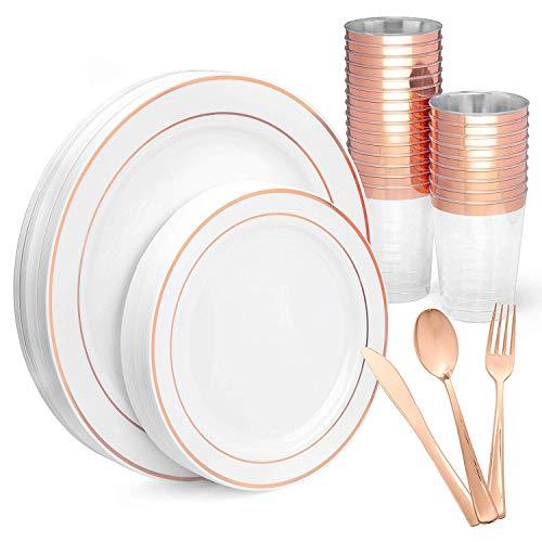 225 & 150 Piece Plastic Plates Silverware u0026 Cups Set u2013 Bulk Rose ...
