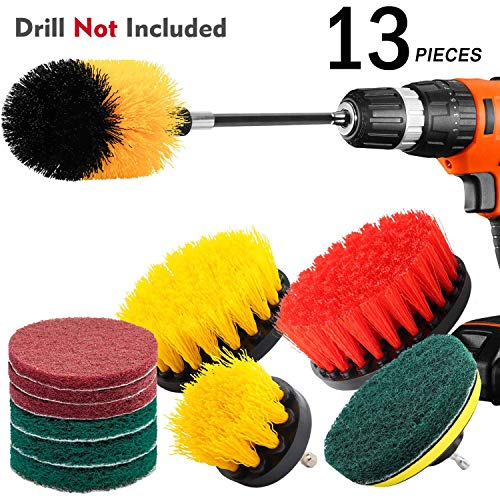 Scouring Pad Brush Electric Drill Clean Kitchen Floor Hard: KNGUVTH 13 Piece Drill Brush Attachments Set, Power
