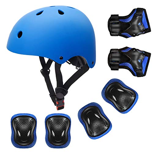 Blue Girl Child Kid Protective Helmet Knee Elbow Wrist Pad Scooter Roller Blade
