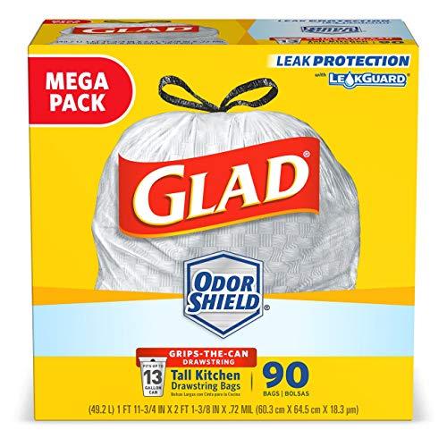 Glad Odorshieldtall Kitchen Drawstring Trash Bags 13 Gallon