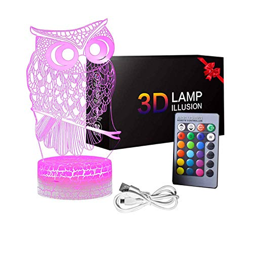 3d Owl Night Light Table Desk Optical Illusion Lamps Holiday And