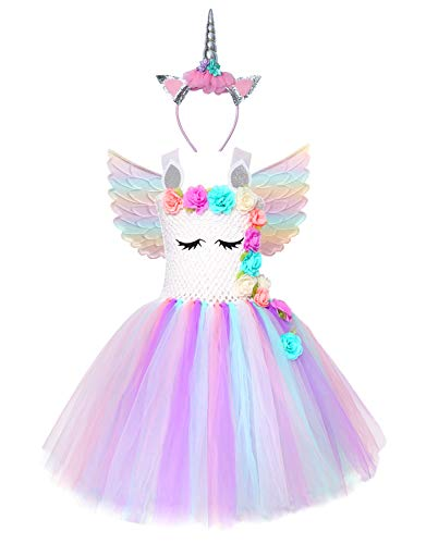 Girls Unicorn Costume Kids Rainbow Magical Ballerina Childs Fancy Dress Outfit