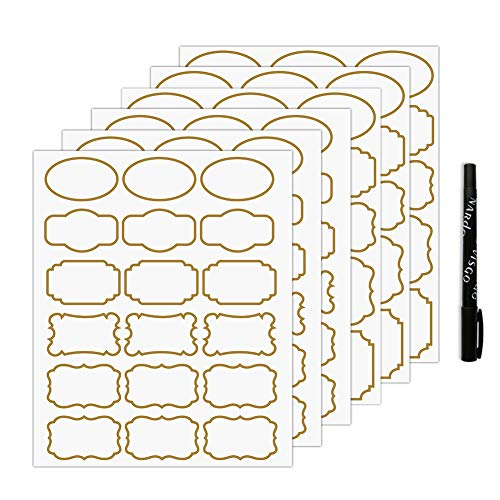 Nardo Visgo Transparent Clear Stickers Labels with Gold