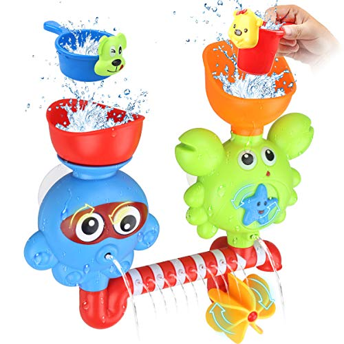 GOODLOGO Toddlers Bath Toys Bathtub For 1 2 3 Year Old Babies Kids Wall Toy Waterfall Fill Spin And Flow Non Toxic Birthday Gift Ideas Color Box