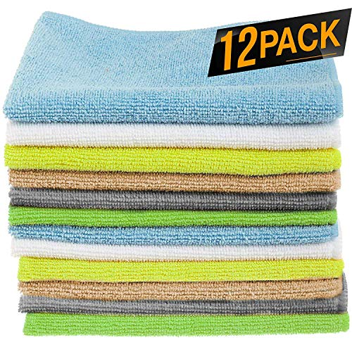 12 Pack Microfiber Cloths Cleaning Supplies [Get Lint-Free ...