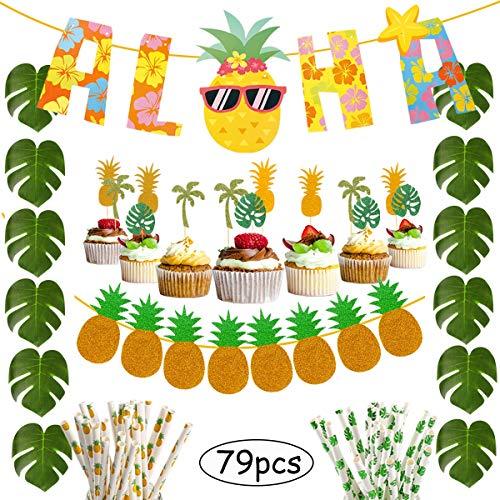 Hawaiian Party Decorations Pack 79Pcs – Aloha Banner Tropical Palm