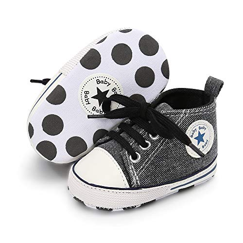 a8a43d462bcd9 Unisex Baby Boys Girls Canvas Sneakers Soft Soled High-Top Ankle ...
