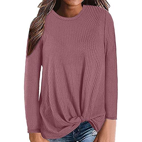 Long Sleeve Twist Solid Color Round Neck Sweatshirt Blouse Tops Women