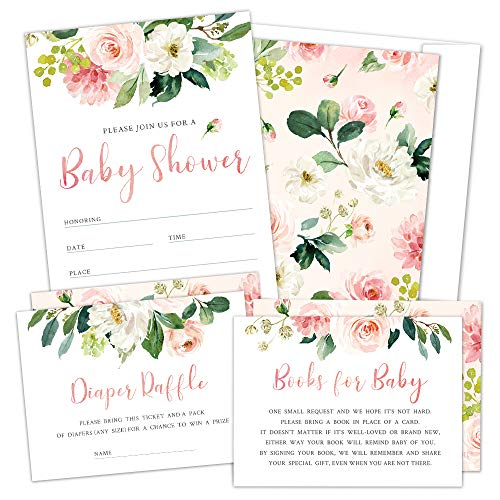 5x7 with Envelopes Printed Invitations Book Request Card Diaper Raffle Card