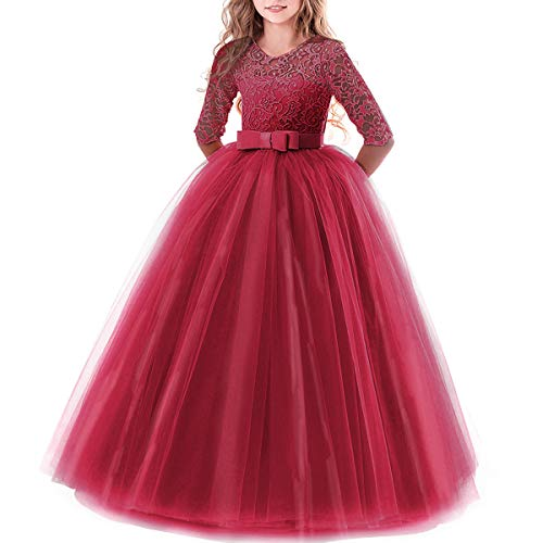 IBTOM CASTLE Girls Long Flower Princess Dresses Graduation Pageant Dance Gowns