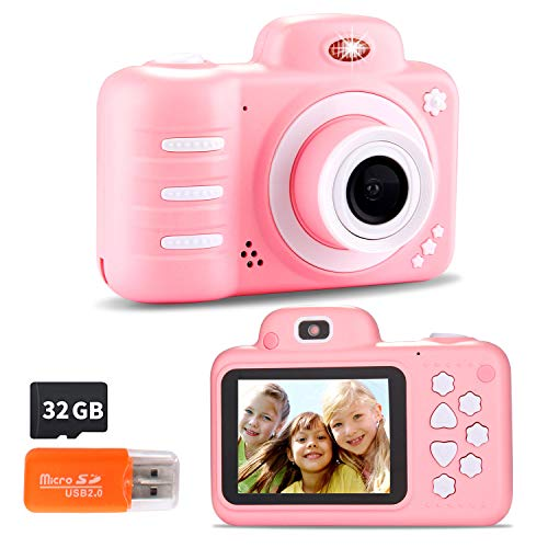 Kids Digital Camera 12mp Kids Camera For Girls With 2 4 Inch Large Screen 1080p Pink Kids Video Camera Best Birthday Gift For Kids Include 32g Memory Card The Frumcare Store