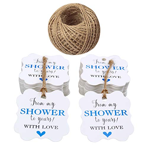 Paper Gift Tags,from My Shower to Yours Tags,100 Pcs Baby Shower Favor Tags with 100 Feet Jute Twine 5cm Blue