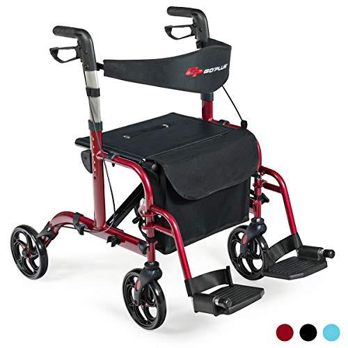Groovy Goplus 2 In 1 Folding Rollator Walker 4 Wheel Medical Short Links Chair Design For Home Short Linksinfo
