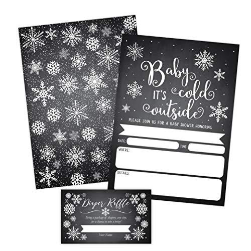 Baby It S Cold Outside Invite Snowflake Baby Shower