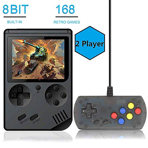 Retro FC Game Console,Video Game Console with 3 Inch 168 Classic Games White BAORUITENG Handheld Game Console