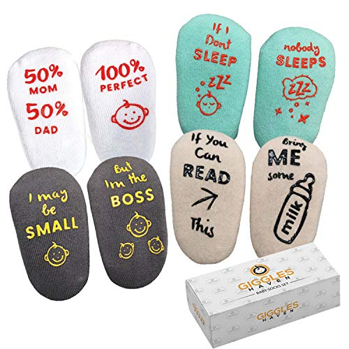 4pcs 4 Pairs Baby-Socks-Set with Funny Sayings Cotton Non-Skid Baby Shower Socks for 0-6 months