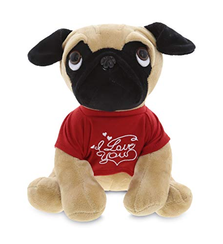 Realistic Pug Stuffed Animal, Dollibu Pug Dog With I Love You Message T Shirt Stuffed Animal 10 Inch For Boyfriend Or Girlfriend Cute Teddy Bear With Heart Plush Toy For Friend Anniversary Or Valentine Gift The