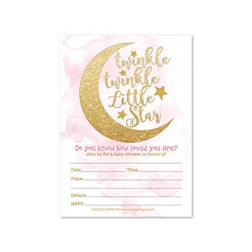 25 Twinkle Twinkle Girl Baby Shower Invitations Sprinkle Invite For Girl Coed Little Stars Gender Reveal Theme Cute Moon Clouds Diy Fill Or Write In Blank Printable Card Pink Gold Party Supplies