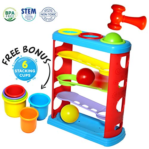 Pound a Ball Toy for Toddlers with 6 Bonus Stacking Cups ...